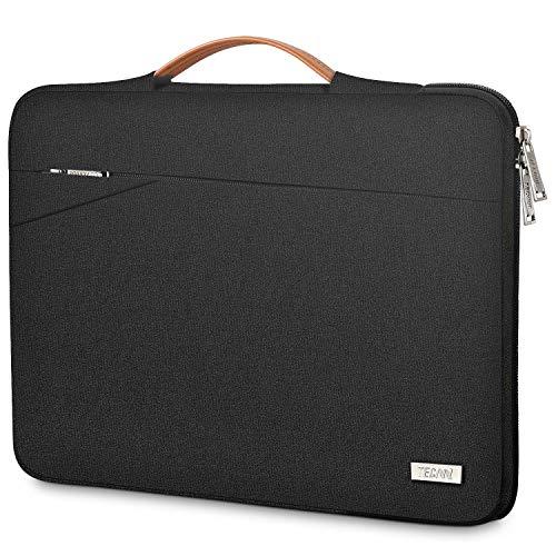 TECOOL Laptop Tasche Hülle Notebooktasche Schutzhülle mit Griff für 2010-2017 MacBook Air 13,3 Zoll, 2012-2015 MacBook Pro 13 Retina, 13.5 Surface Laptop, 14 Zoll Ultrabook, Pures Schwarz