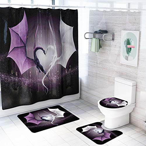 ZLWSSA Love Pattern Flying Dragon Shower Curtain Black Purple Curtains Set With Rug Toilet Seat Cover Carpet Non-Slip Mat W180xH180cm
