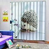 WAFJJ Cortinas Animales y erizos 3D realistas del diseño,Sala de Estar Dormitorio Cortinas Ventana Set de Dos Paños