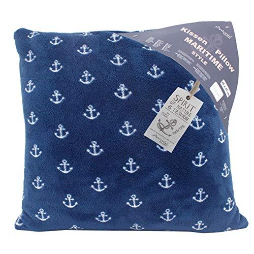Maritimes Kuschelkissen mit Anker blau - 45cm x 45cm Kissen extra flauschig & weich Dekokissen für Sofa & Couch