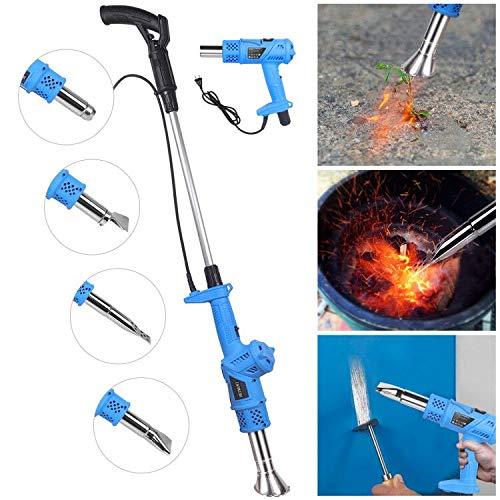 HEIMUNI 3in1 Unkrautbrenner Elektrisch Unkrautvernichter ohne Gas, Abflammgerät und Heißluftpistole mit 5 Düsen, 2000W, 80℃ bis 650℃, 1.8m Kabel, Grillzünder Elektrisch (Blau)