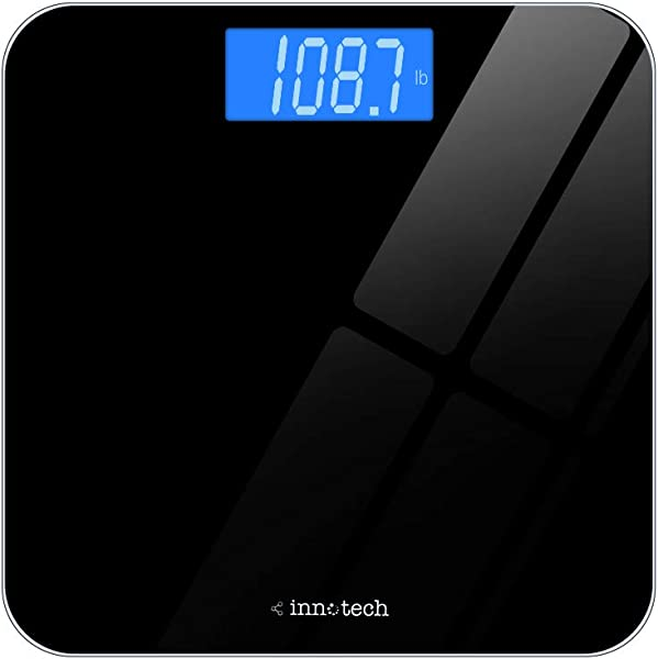 Innotech Digital Bathroom Scale With Easy To Read Backlit LCD Black