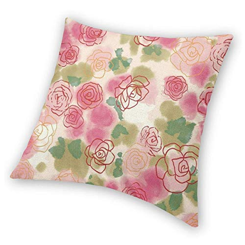 Square Throw Pillow Covers Floral Rose Protectors Room 18 X 18 Inch Christmas Decorative Cushion Covers