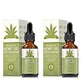 [ 2 Pack] Natural Hemp Oil Drops - Hemp Seed Oil Helps with Sleep, Skin & Hair