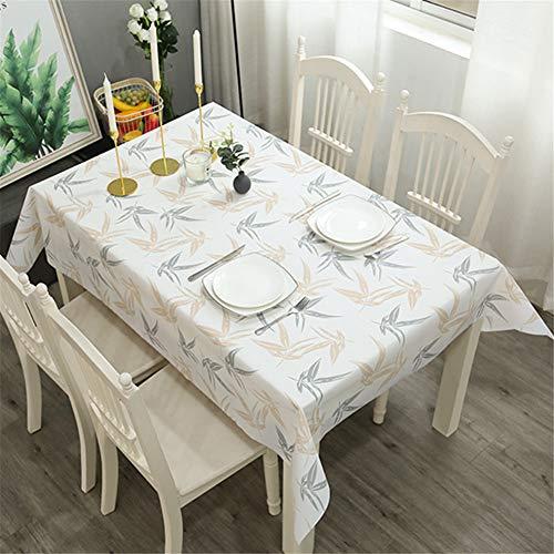 VIONNPPT Furnily - Mantel rectangular impermeable, resistente al polvo, de PVC, diseño geométrico, resistente al aceite, con hojas de vinilo, 180 x 137 cm