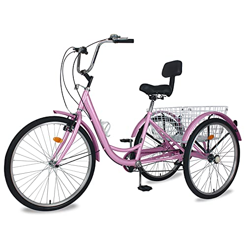 Adult Tricycle 7 Speed, Three Wheel Bikes for Seniors, Adults, Women, Men, 20/24/26-Inch Wheels,...