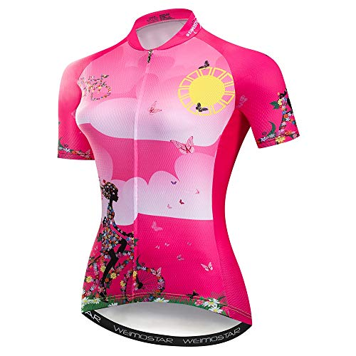 Fahrradtrikot für Damen, kurze Ärmel, schnell trocknend, Mountainbike, Profi-Team, Sommer-Shirt -  -  Etikett XL/Brust: 91/97 cm