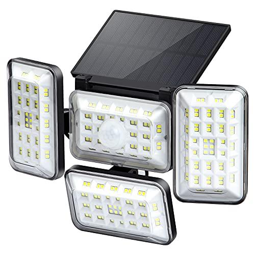 ANVAVA 4 Cabeza Luz Solar Exterior con Sensor Movimiento Aplique de Seguridad IP65 Impermeable Luz Solar LED Ilumicación Terraza Camino Garaje, 242 LED