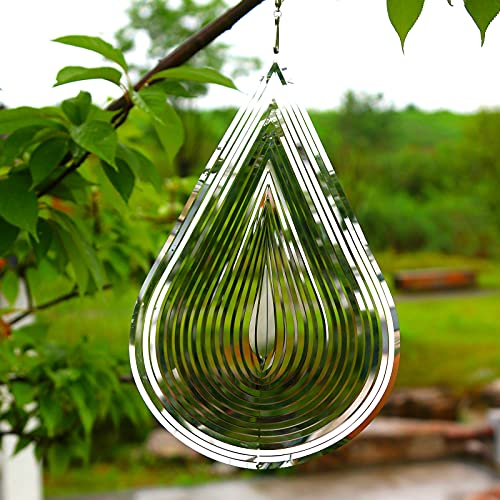 kasongva Wind Spinner 3D StainlessSteel Light Effect Decor Festival Decoration Room Decor Indoor/Outdoor Garden Decoration Gifts 12 inches Silver Water Drop-Shaped Spinners with 360°Rotating Hook