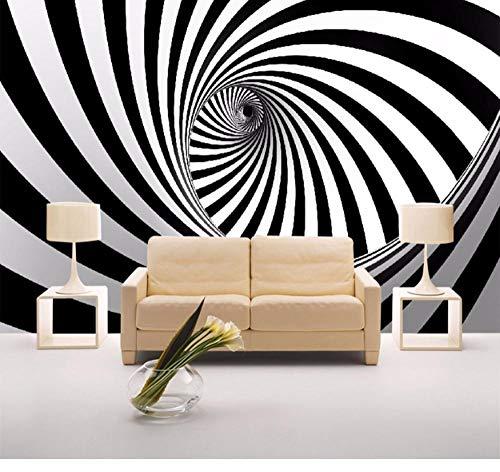 Suwhao aangepaste moderne abstracte kunstenaarsmuurschildering behang zwart en wit bolletje lijn woonkamer stro-vlies behang voor muren 400x280cm