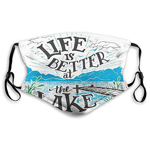 Windproof Mask,Cabin, Life is Better at the Lake Wooden Pier Plants Mountains Outdoors Sketch,Blue Black Green,Printed Facial Decorations for Unisex JP-2893
