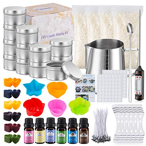 Complete Candle Making Kit, DIY Candle Making Kit for Adults, Candle Making Supplies Kit Including Beeswax, Wicks, Rich Scents, Dyes, Melting Pot, Tins