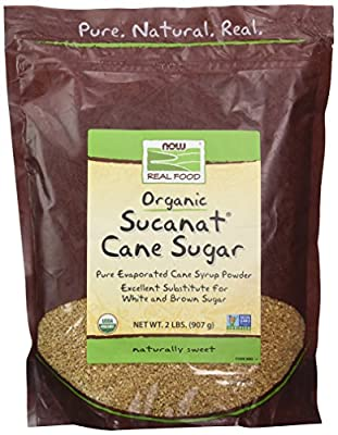 NOW Foods, Certified Organic Sucanat Cane Sugar, Powder from Pure Evaporated Cane Syrup, Excellent Substitute for White and Brown Sugar, Certified Non-GMO, 2-Pound