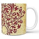 Uicoomhill Tazza da cappuccino con manico in ceramica di alta qualità, stile retrò, idea regalo per ragazze, adatta per la casa, bianco, 330 ml
