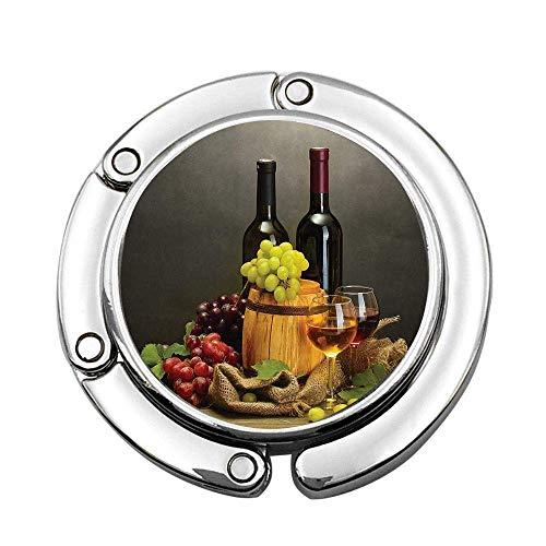 Winery Decor Barrel Flaschen und Gläser Wein und reife Trauben auf Holztisch Dekoratives Bild Benutzerdefinierte Geldbörse Haken Faltba