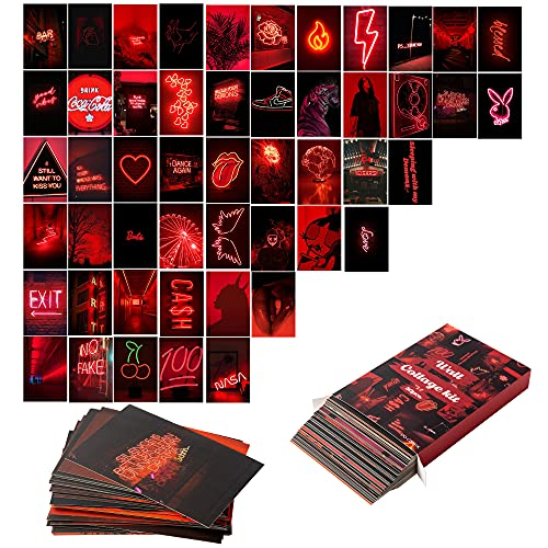 N\C 50 piezas de fotos estéticas para collage de pared, kits de neón rojo fotos, colecciones, habitación dormitorio decoración para niñas adolescentes mujeres
