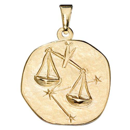 Sternzeichen Waage - Anhänger aus 333 Gold Gelbgold Halsschmuck Unisex
