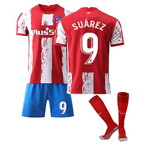 QHMWP Camiseta NiñOs Adultos, 2122 Atlético de Madrid Home Nº 9, Camiseta Partido Unisex Camiseta FúTbol para NiñOs, Entrenamiento Camiseta FúTbol, Camisetas FúTbol Vintage Camiseta