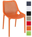 CLP XXL-Bistrostuhl AIR aus Kunststoff I Gartenstuhl mit Einer Sitzhöhe von 44 cm I Outdoor-Stuhl mit Wabenmuster I erhältlich Orange