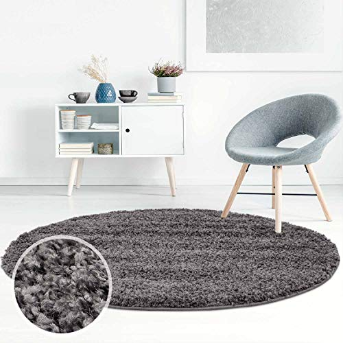Carpet City ayshaggy Shaggy Teppich Hochflor Langflor Einfarbig Uni Dunkelgrau Weich Flauschig Wohnzimmer, Größe: 160 x 160 cm Rund, 160 cm x 160 cm