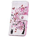JAWSEU Kompatibel mit Sony Xperia L3 Hülle Handyhülle Leder Tasche Glänzend PU Leder Hülle Flip Hülle Schutzhülle Brieftasche Wallet Tasche Magnetisch Kartenfach Ständer Etui,Rosa Baum Katze