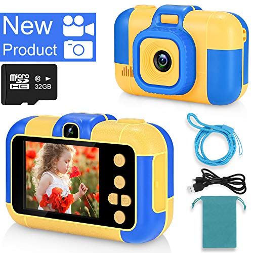 ASIUR Kinder Digitalkamera 1080P FHD Video 24MP Wiederaufladbare Spielzeugkameras Kinder Camcorder für Mädchen und Jungen 3-8 Jahre alt Geburtstag Weihnachten Neujahr Geschenk (Blau)