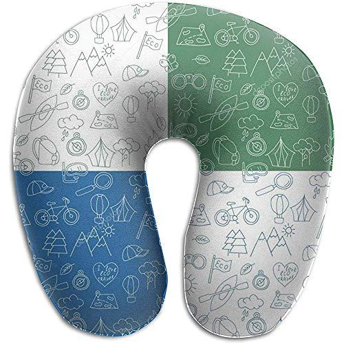 Warm-Breeze Hand gezeichnete Form-Kissen des Gekritzel-Ökotourismus-U für Reise, Hals-Massage-Gedächtnis-Schaum-Hals-Unterstützung