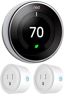 Google Nest T3019US Learning Thermostat 3rd Gen Smart Thermostat, Polished Steel Bundle with 2-Pack Deco Gear WiFi Smart Plug