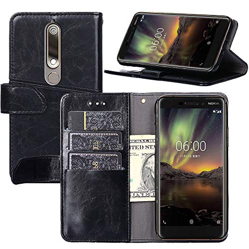 Nokia 6.1(2018) Case,Nokia 6.1(2018) Wallet Case, [Stand Feature] Protective PU Leather Flip Cover with Credit Cards Slot,Side Cash Pocket and Magnetic Clasp Closure (Black)