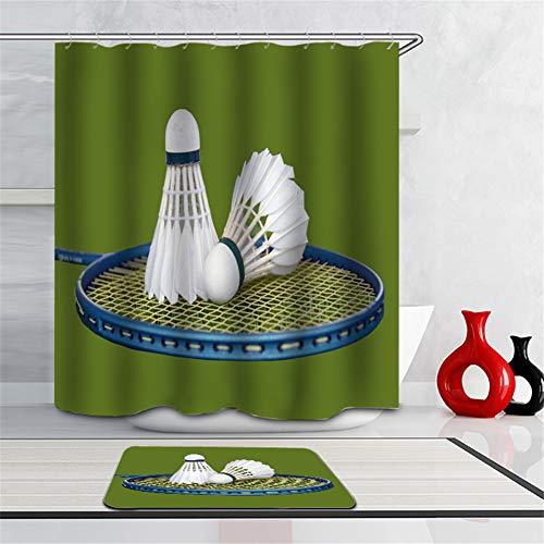LIYAN Cortina De Ducha: 180Cm X 180Cm. Impresión 3D HD. Pigmentos Vegetales. Impermeable. Alfombrilla: 40 X 60 Cm. Accesorios De Baño. Bádminton En La Raqueta.