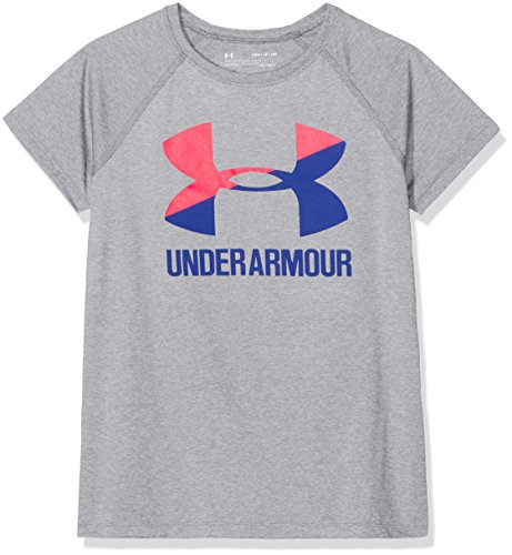 Under Armour Girls Solid Big Logo Short Sleeve T-Shirt, Steel Light Heather , Youth Small