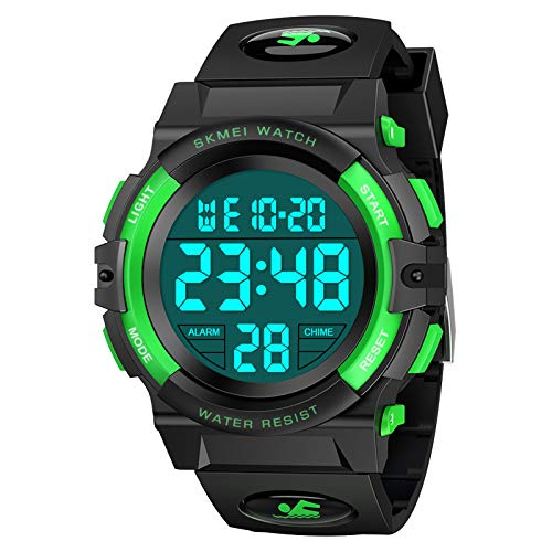 Dreamingbox Digital Watches for Boys Kids, Outdoor Sports 50M Waterproof Electronic Watches Christmas Birthday Gifts for Boys Sports Watch for Boys Digital Watch for Kids Boys Stocking Fillers Green