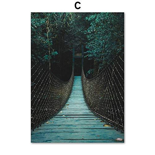 xinyouzhihi Plant Bridge Poster drucken Leinwand Malerei Bilder Leinwand Wandkunst für Wohnzimmer Schlafzimmer Home Decorations 60x75cm Kein Rahmen