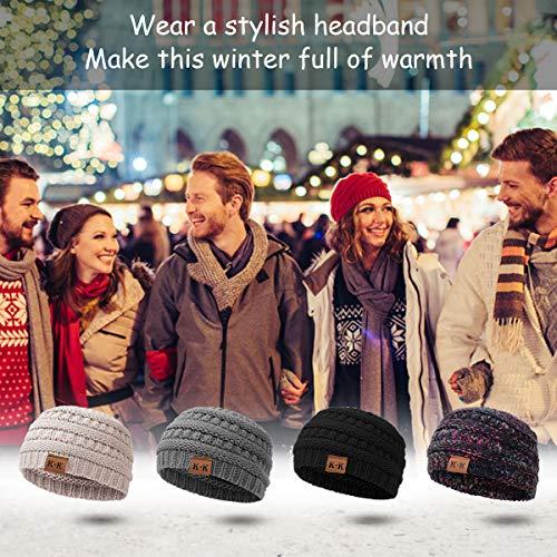 Winter Knitted Headband - Women Chunky Knit Headbands Crochet Braided Hair Band Ear Warmer Crochet Head Wraps Cable Knitted Turban Hairband (Grey-B)