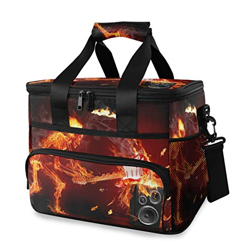 Crazy Fire Music Large Lunch Bag Insulated Lunch Box Soft Cooler Cooling Tote for Grocery, Camping, Car, Picnic, Work and Travel