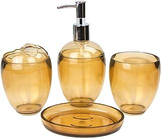PIXNOR 浴室付属品セットプラスチック卵形の石鹸ディスペンサー歯ブラシホルダータンブラーソープディッシュホームホテルトイレ用品