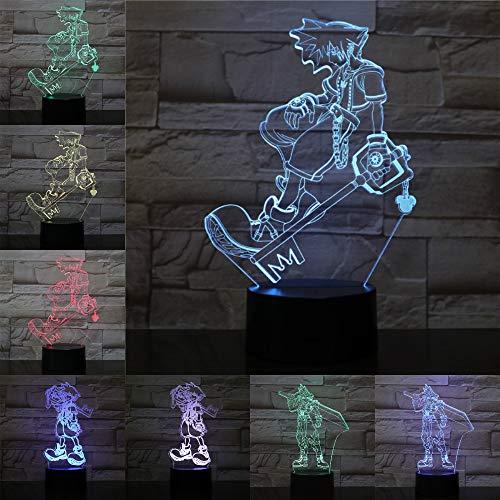 Jiushixw 3D acryl nachtlampje met afstandsbediening kleurverandering tafellampen meer baby kind baby kind cadeau baby spel spel tafellamp schommel