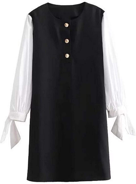 2018 Autumn Black White Loose Dress Women Cute Bow Tie Patchwork Mini Dress Wrist Sleeves Fall Fashion