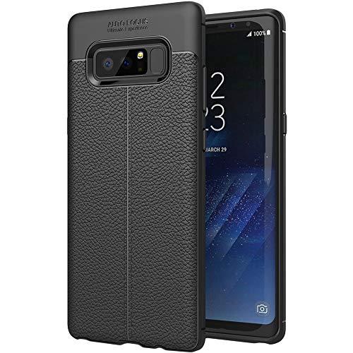 ebestStar - kompatibel mit Samsung Galaxy Note 8 Hülle Note8 Lederhülle Design TPU Handyhülle Schutzhülle, Flex Silikon Hülle, Schwarz [Note8: 162.5 x 74.8 x 8.6mm, 6.3'']