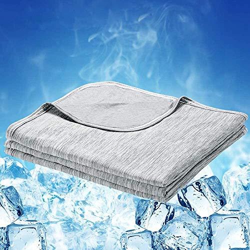 Luxear Kuscheldecke selbstkühlend, mit Q-Max 0,43 Kühlfasern Kühldecke, 2 in 1 doppelseitige Baumwolle Wohndecke, Flauschige und weiche Sofadecke Babydecke Reisedecke, 150 x 200cm, grau
