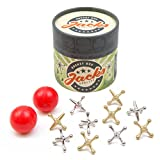 Rocket Box Jacks Game: Retro, New Vintage, Classic Game of Jacks, Gold and Silver Toned Jacks, Two Red Bouncy Balls and Set of Instructions, Fun for Kids and Adults of All Ages.