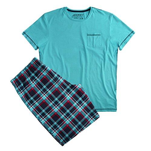 Jockey Pyjama Shorty dunkelblau-türkis kariert Übergröße, XL Größe:2XL