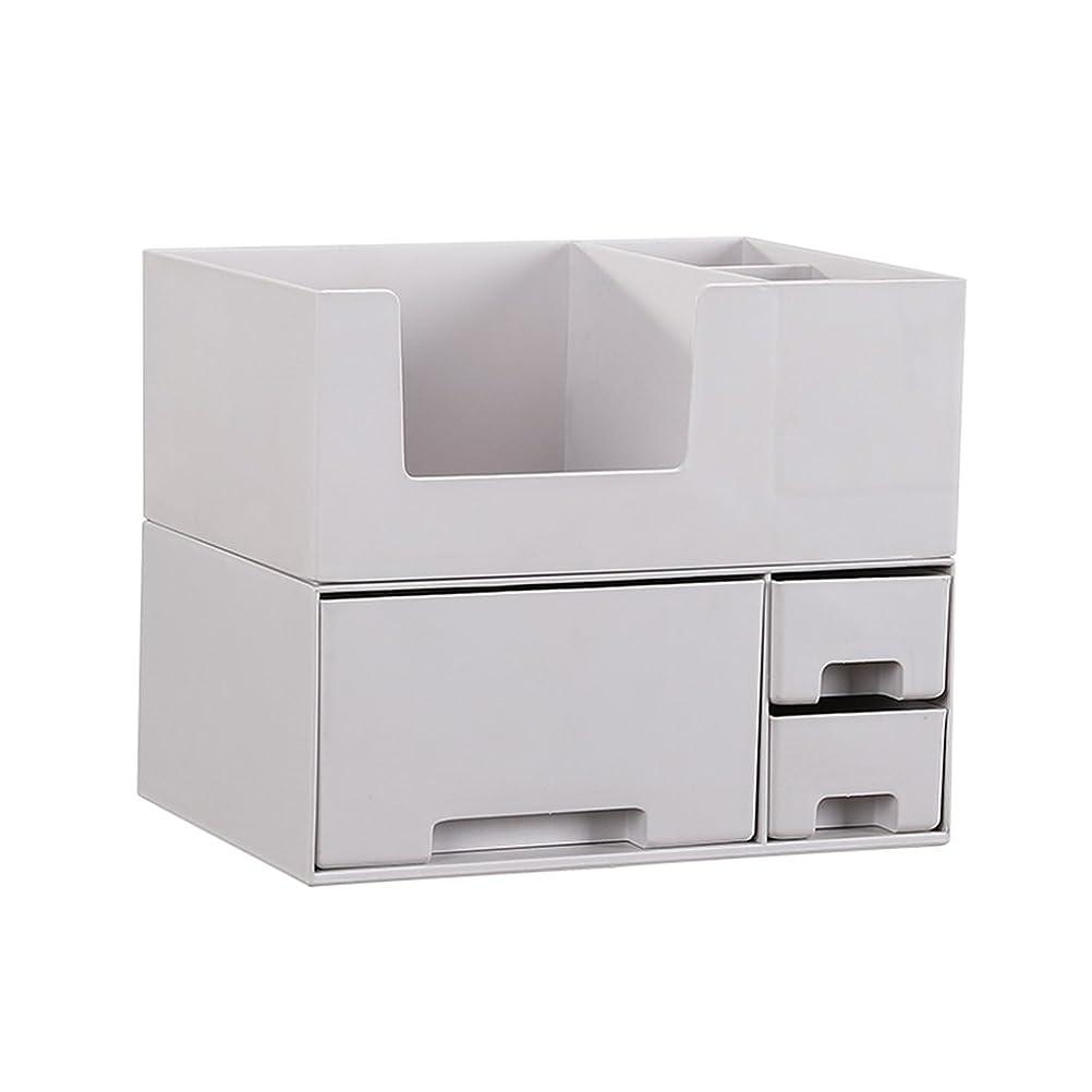 森洗練された苦味デスクトップ化粧品収納ボックス、スキンケア製品、フェイシャルマスク、ジュエリー、収納ラック、白い2階建て多目的収納ボックス