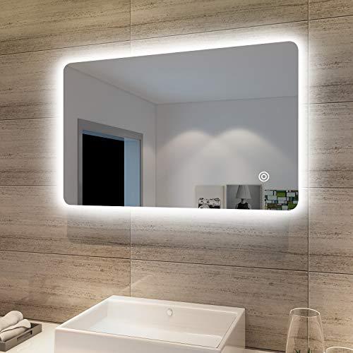 SONNI Badspiegel Lichtspiegel LED Spiegel Wandspiegel mit Touch-Schalter 80 x 50cm kaltweiß IP44 energiesparend