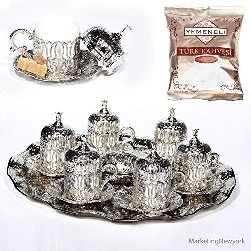 Akmetal 27 Pc Ottoman Turkish Greek Arabic Coffee Espresso Serving Cup Saucer (Silver)