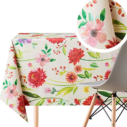 Cream Red Pastel Flower Bloom Wipe Clean Tablecloth - Textil Feel - Rectangle 300x140 cm 118x55in up to 10 Seats - Waterproof Vinyl PVC Wipeable Plastic Beige Table Cloth - Large Outdoor Green Dining