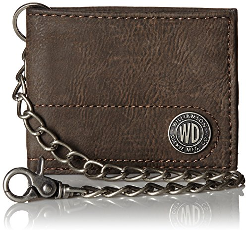 Dickies Men's Bifold Chain Wallet-High Security with ID Window and Credit Card Pockets, brown...