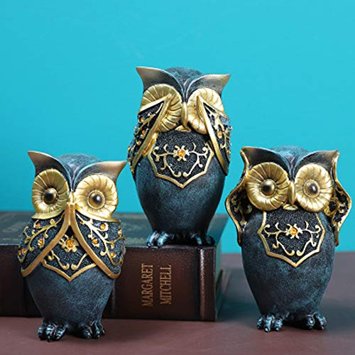 90sMuse Owl Statue Decor Crafted Owl Figurines with Different Gestures Decor for Home Bedroom Office Decor Book Shelf TV Stand Decor - Animal Sculptures Collection Best Gifts for Birds Lovers (A)