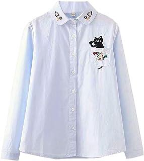 (ボラ-キキ) Bole-kk シャツ ブラウス 長袖 レディース ワイシャツトップス 入学式 卒業式 通学 かわいい 猫柄 刺繍 ゆったり
