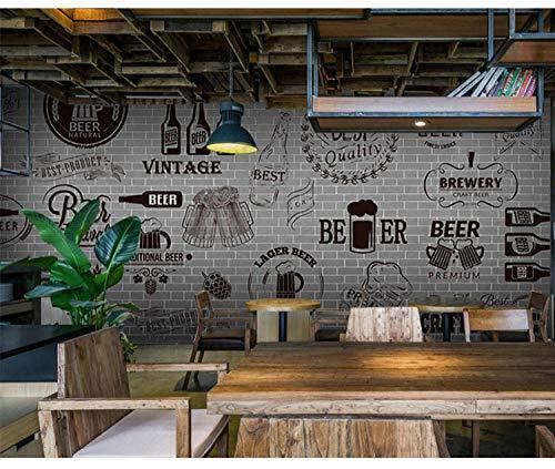 Dzrmb Benutzerdefinierte 3D wandbild Grau Zement schwarz weiß Mauer Retro tapete bar Grill Fast Food Restaurant Bier Shop 3D wandbild @ 200x140_cm_ (78.7_by_55.1_in_) _